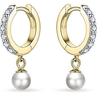 Bijoux Gisser - Boucles d'oreilles - Boucles d'oreilles fixées en zircone et pierre de zircone mobile sous la boucle d'oreille - 13,5 mmØ - 2 mm de large - Or jaune Plaqué Argent 925