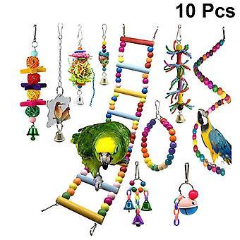10pcs Parrot Toy Wood Bell Creative Funny Ladder Cage Accesorios Mordida Juguete Masticación para pájaro Loro