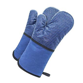 Grid Silicone Insulated Mitts Anti Scalding Bakery Gloves Blue