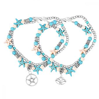 2pcs Ankle Chain Fake Pearl Sea Star Double Layer Pine Stone Beach Anklet Hawaii Style Foot Chain For Women (pentagram + Lotux)