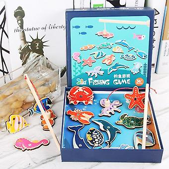 Wooden Marine Animal Fishing Toy Magnetic Fun Game Baby Educational Learning Toys