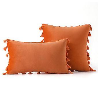 Simple home pillowcases solid color velvet style tassel fringe super soft pillow cover