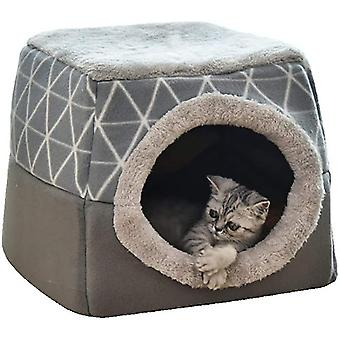 Cat Cave House Bed Pet Nest Sleeping Bag 2 In 1 Foldable Cuddly(L)
