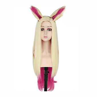 Ahri Wigs with Ears Games Long Wig Cap Golden