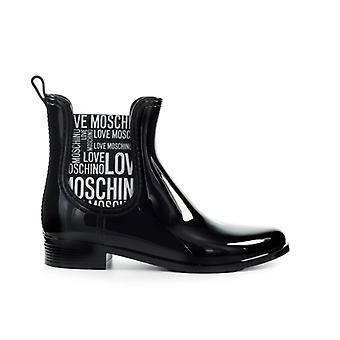 Liebe Moschino Schwarz Gummi Chelsea Boot mit Logo