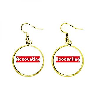 Course And Major Single Word Accounting Red Ear Dangle Golden Drop Earring Jewelry Woman