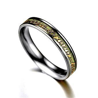 Anello luminoso Lettera In acciaio titanio coppia anelli gioielli
