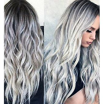 70cm Gradient Grey Deep Wave Lace Front Wig Human Hair Lance Frontal Wigs For Cosplay, Comic Con
