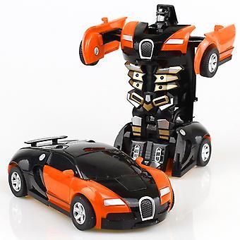 2 in 1 変形ロボットキット 12-13cm ワンステップ 変形 おもちゃ車モデル 子供のおもちゃの誕生日ギフト-a