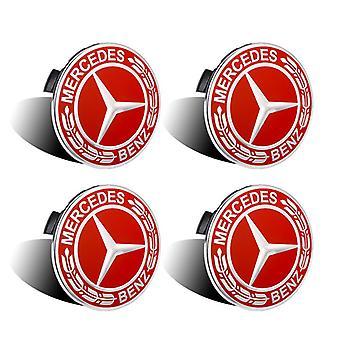 A1714000025, Badge du logo de la voiture pour Wheel Center 4 Pièces, pour Mercedes Benz (rouge 75mm)