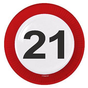 Il numero di segno di traffico della piastra di partito 21 compleanno piastre 8 pz carta festa piastre