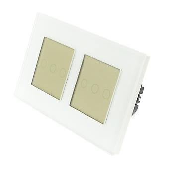 Ik LumoS wit glas dubbel Frame 6 bende 1 manier externe WIFI / 4G-Touch LED licht overschakelen van goud invoegen