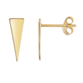 14K Yellow Gold Long Triangle Climber Stud Earrings