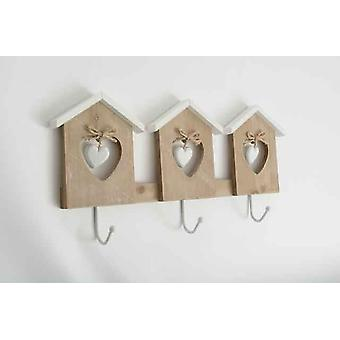 Heart in Home Wall Wooden Hanging 3 Hooks White and Brown