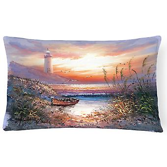 Lighthouse Scene with Boat Fabric Decorative Pillow
