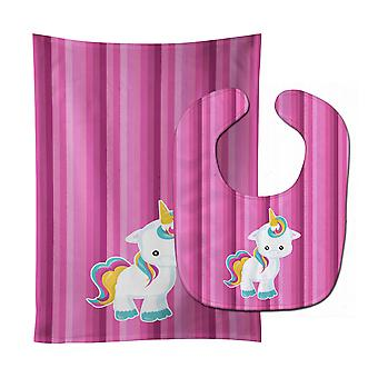 Carolines Treasures  BB6806STBU Pink Stripes Unicorn Baby Bib & Burp Cloth