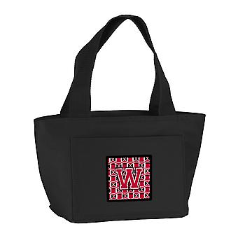 Letter W Football Crimson and White Lunch Bag