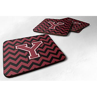 Set of 4 Letter Y Chevron Garnet and Black  Foam Coasters Set of 4