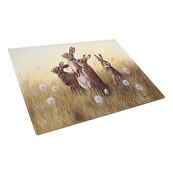 Rabbits in the Dandelions Glass Cutting Board Large