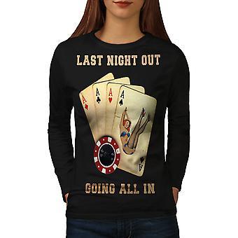 All In Card Bachelor Women BlackLong Sleeve T-shirt | Wellcoda