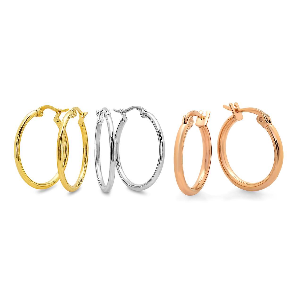 Ladies Set Of 3 Mini Hoop Earrings