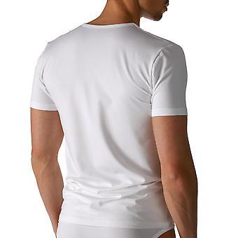 Sec en coton couleur unie blanche manches courtes Top Mey 46107-101 hommes