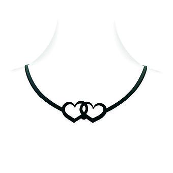 Black Silicone Hearts Necklace Tattoo Effect 6302