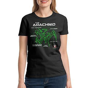 Starship Troopers Bug Schematic Women's Black T-shirt