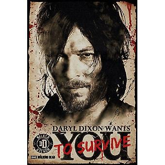 Walking Dead Daryl Dixon vill du affisch Skriv (24 x 36)