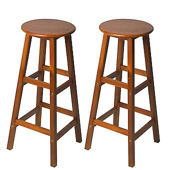HOMCOM Set of 2 Acacia Hardwood Wooden Bar Stools with Footrest Round for Counter Café Kitchen Breakfast Pub & Conservatory Teak Colour