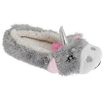 Slumberzzz Womens/Ladies Fluffy Grippy Unicorn Slippers