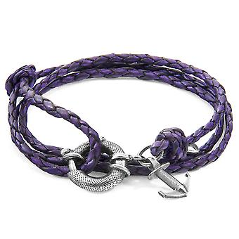 Grape Purple Clyde Anchor Silver And Braided Leather Bracelet