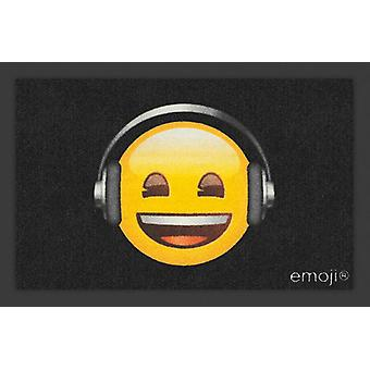 Emoji doormat of headphones black, multi colored, made of polyamide, with non-slip PVC bottom.