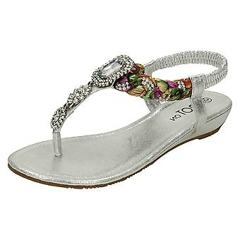 Ladies Spot On Low Wedge Toepost Jewelled Sandals F10745   *** WAITING FOR PHOTOS ***