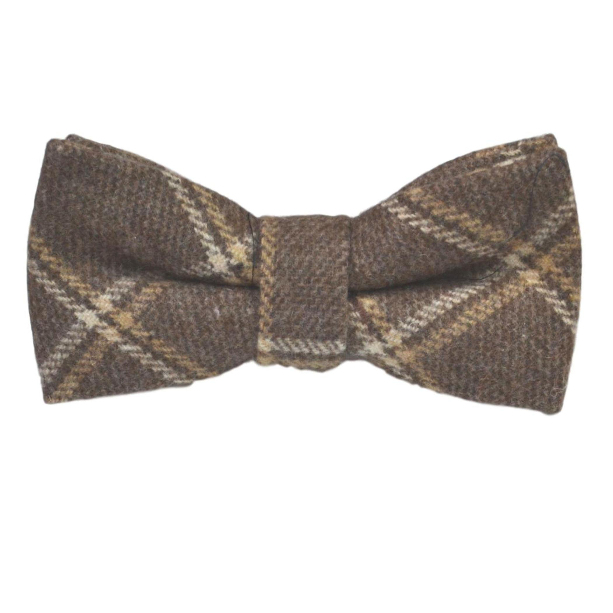 Heritage Pecan Brown Check Bow Tie & Pocket Square Set