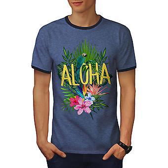 Hawai Aloha hombres Heather azul loro / NavyRinger camiseta | Wellcoda