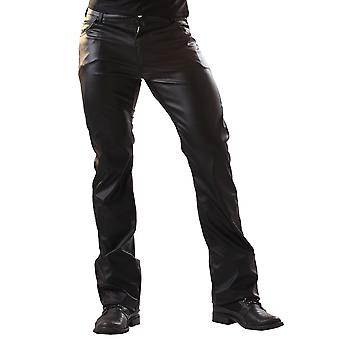 Honour Men's Sexy Classic Trouser Jeans in Leather Black Pockets Belt & Loops