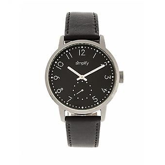 Simplify The 3400 Leather-Band Watch - Silver/Black