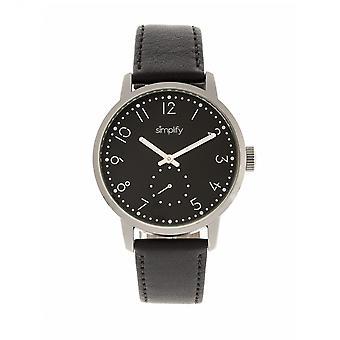 Yksinkertaistaa 3400 nahka bändi Watch - hopea/musta