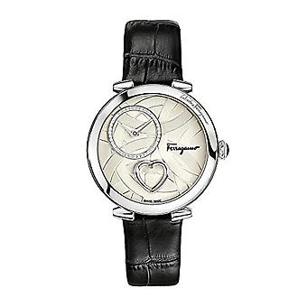 Salvatore Ferragamo Collection Heart women's Watch quartz Silver Dial with Patented heart and black leather strap FE2990016