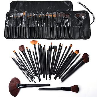 32pcs Professional Makeup brushes of genuine goat hair in leather case