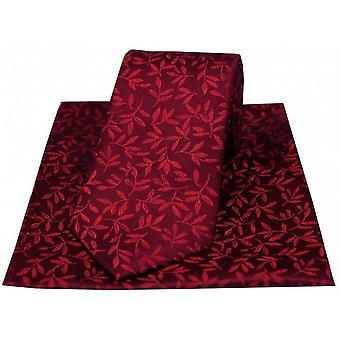David Van Hagen blad stropdas en zakdoek Set - wijn