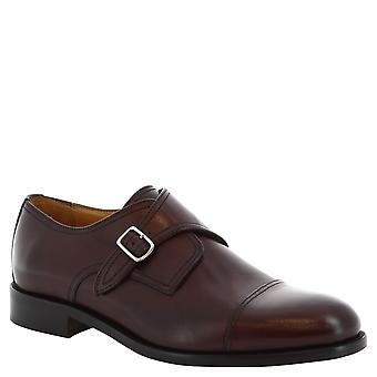 Leonardo Shoes Man's handmade monk shoes in bordeaux leather