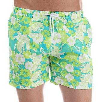 Mens Henleys Flowers Patterned Swim Short In Green