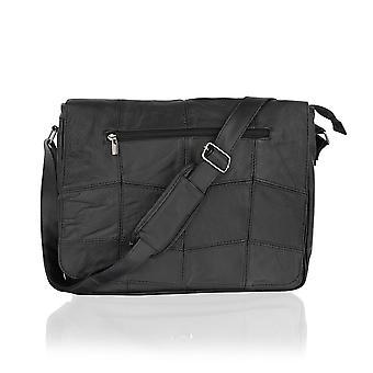 Landscape Black Leather Messenger Bag 10.5