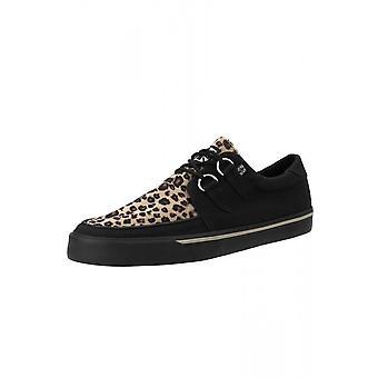 TUK Shoes Black & Leopard D-Ring VLK Creeper Sneaker