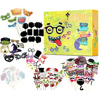 FotoMasq - 145pcs DIY Kit of Photo Booth Props + Glue and Stick for Selfies Themes for Mr and Mrs Baby Showers Masquerades Weddings Christmas Birthdays Anniversaries Valentines Prom Kids Parties Halloween