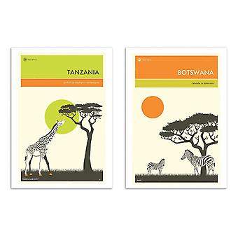 2 kunst-posters 30 x 40 cm-Duo Botswana en Tanzania-Jazzberry Blue