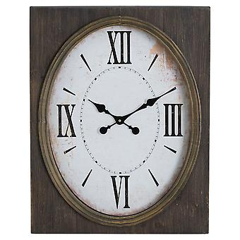 Inset Oval Clock With Roman Numerals