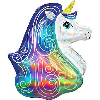Anagram Iridescent Rainbow Unicorn Supershape Foil Balloon